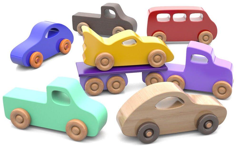 masinute din lemn - Super Simple Play Pals 1 - Set 7 mașinuțe din lemn