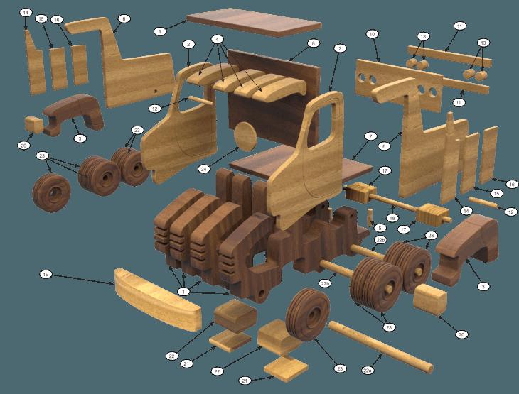 basculanta din lemn - basculanta montaj piese - Basculanta din lemn cu trailer