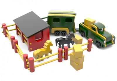 jucarie-camioneta-din-lemn-cu-ferma