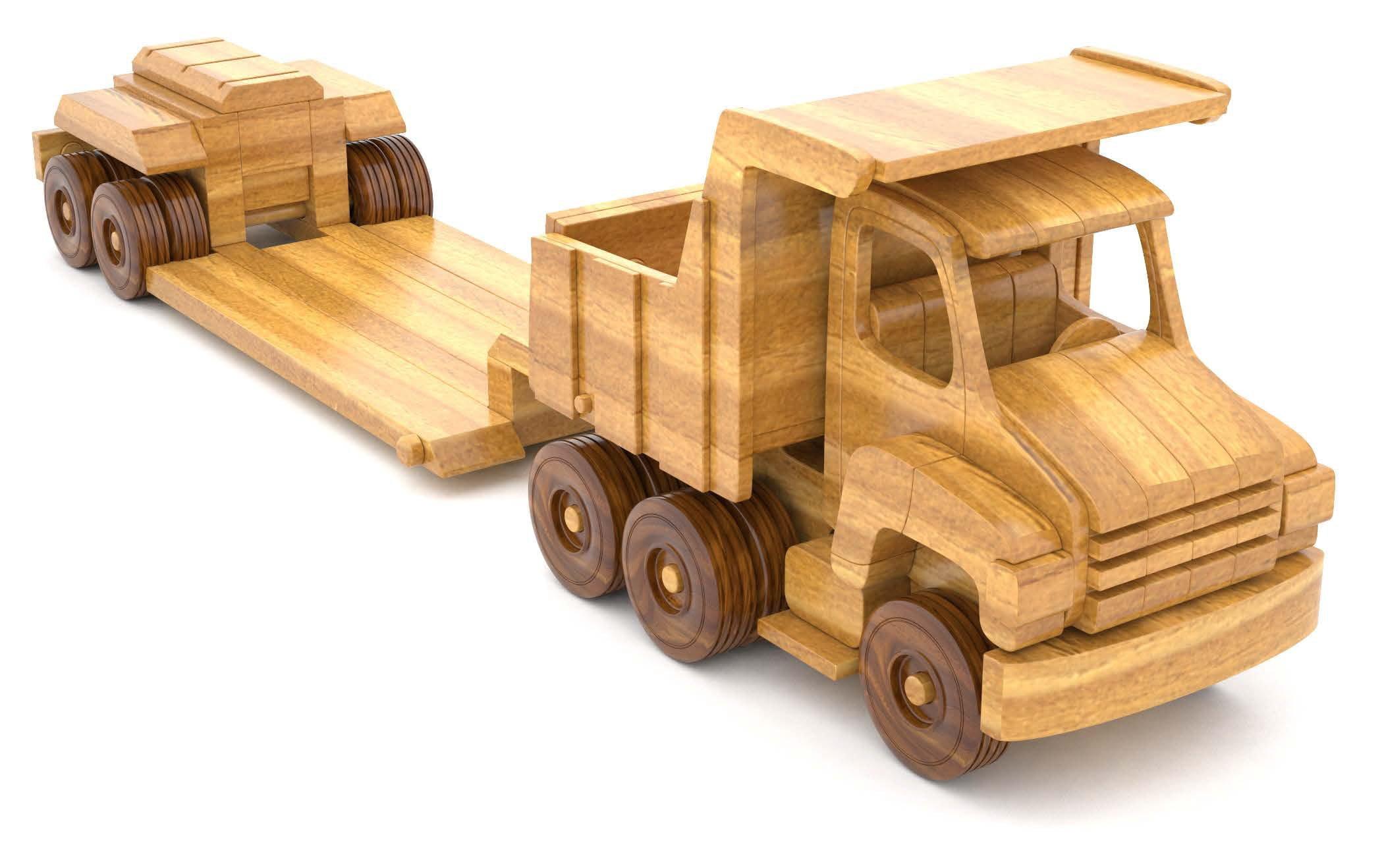 basculanta din lemn - hefty dump truck and lo boy trailer 2 - Basculanta din lemn cu trailer