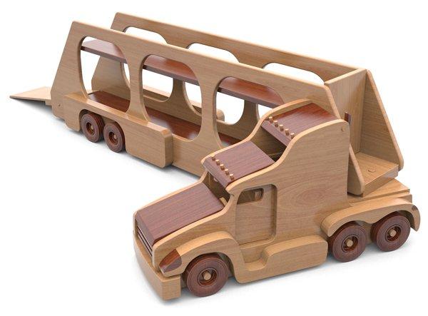jucarie trailer camion din lemn - super hauler car carrier 7 - Jucarie Trailer camion din lemn