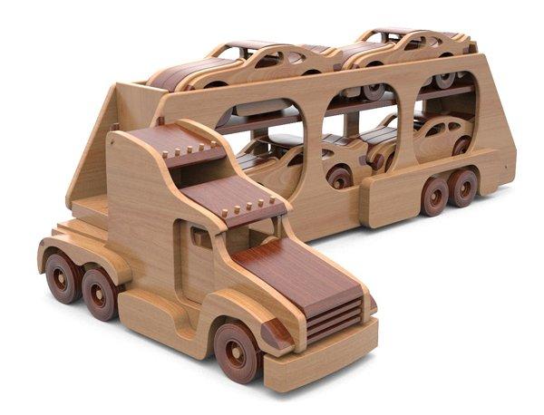 jucarie trailer camion din lemn - super hauler car carrier 9 - Jucarie Trailer camion din lemn